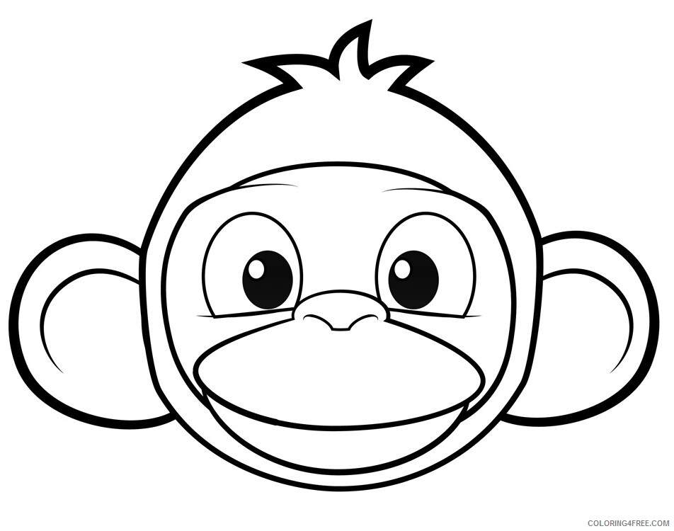 Monkey Coloring Pages Animal Printable Sheets Monkey Face 2021 3351 Coloring4free
