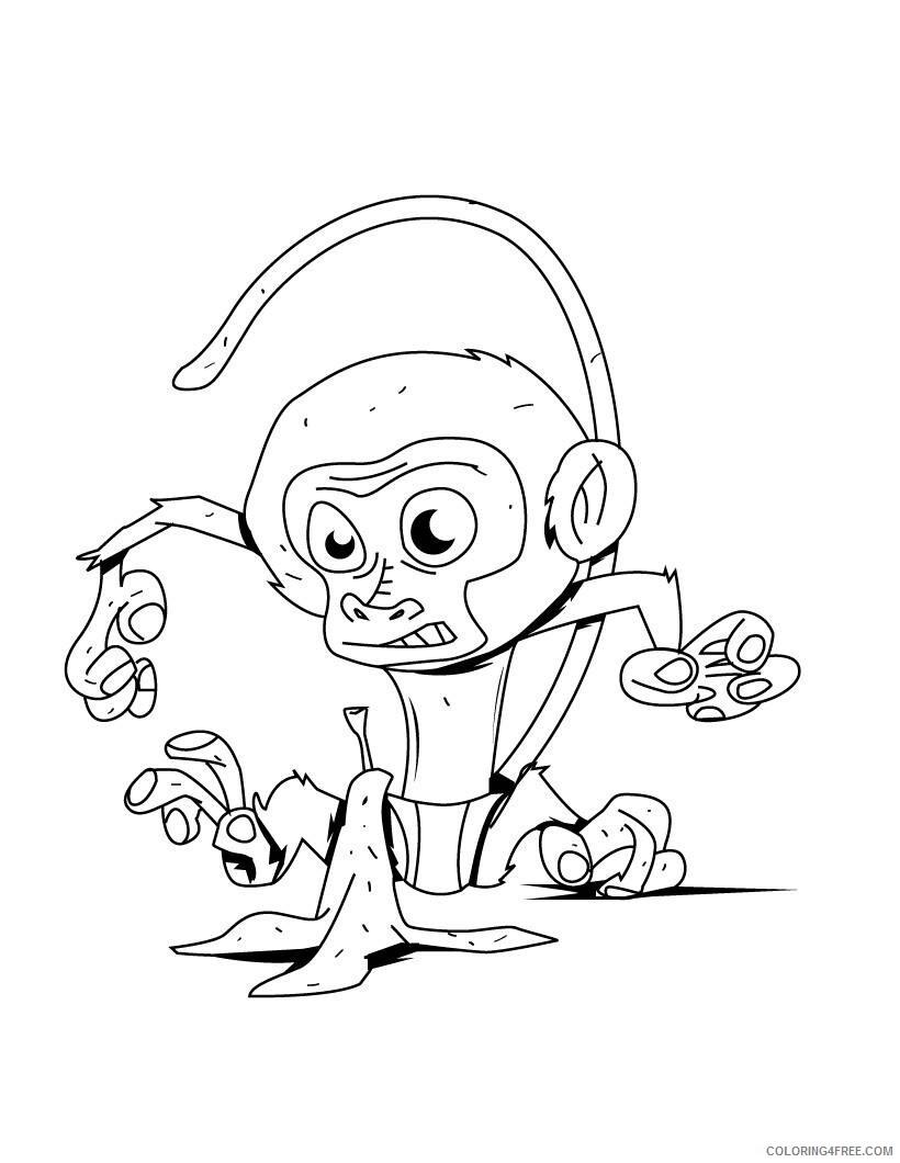 Monkey Coloring Pages Animal Printable Sheets Monkey For Kids To Print 2021 3342 Coloring4free