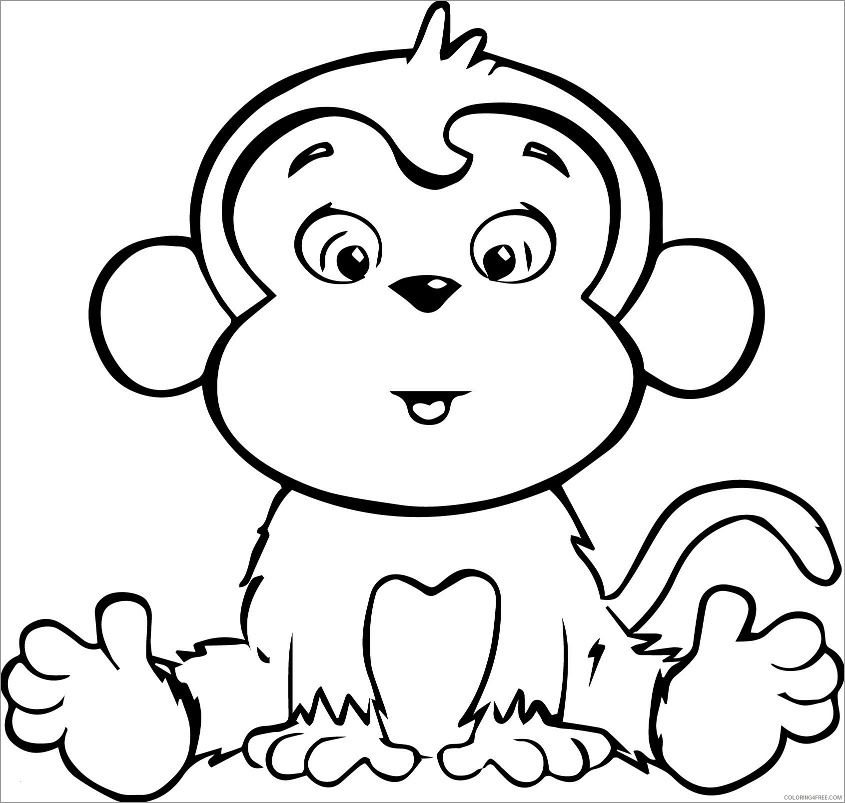 Monkey Coloring Pages Animal Printable Sheets baby monkey 1 2021 3282 Coloring4free