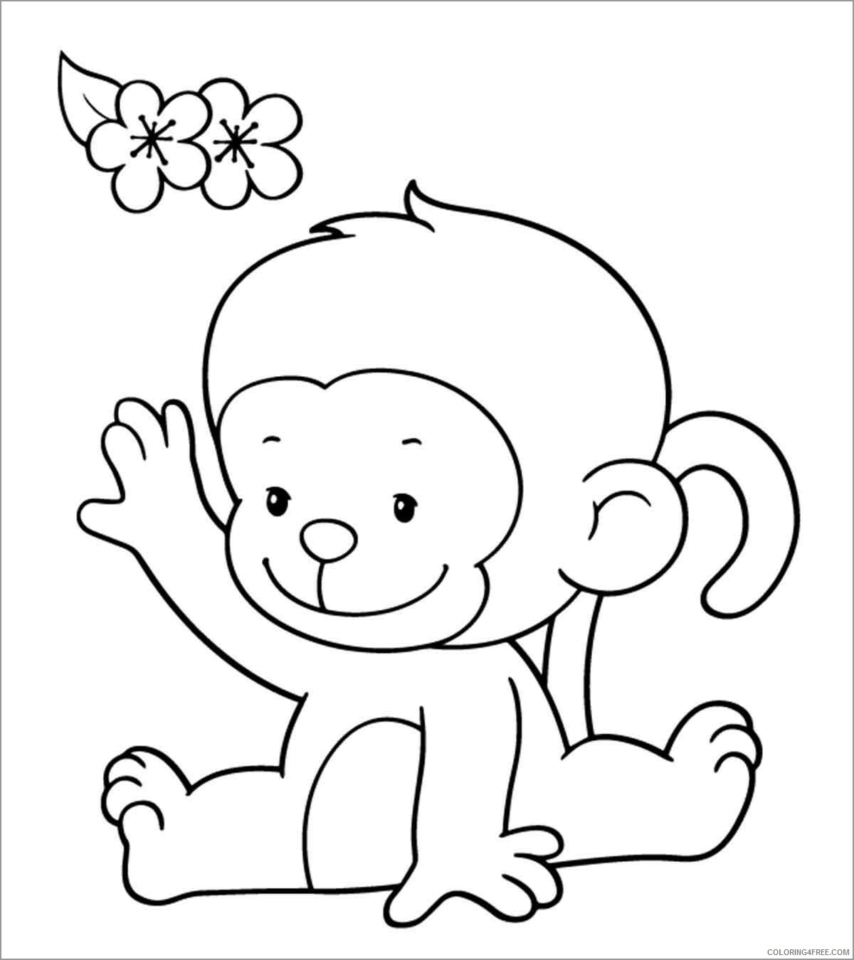 Monkey Coloring Pages Animal Printable Sheets cartoon baby monkey 2021 3285 Coloring4free