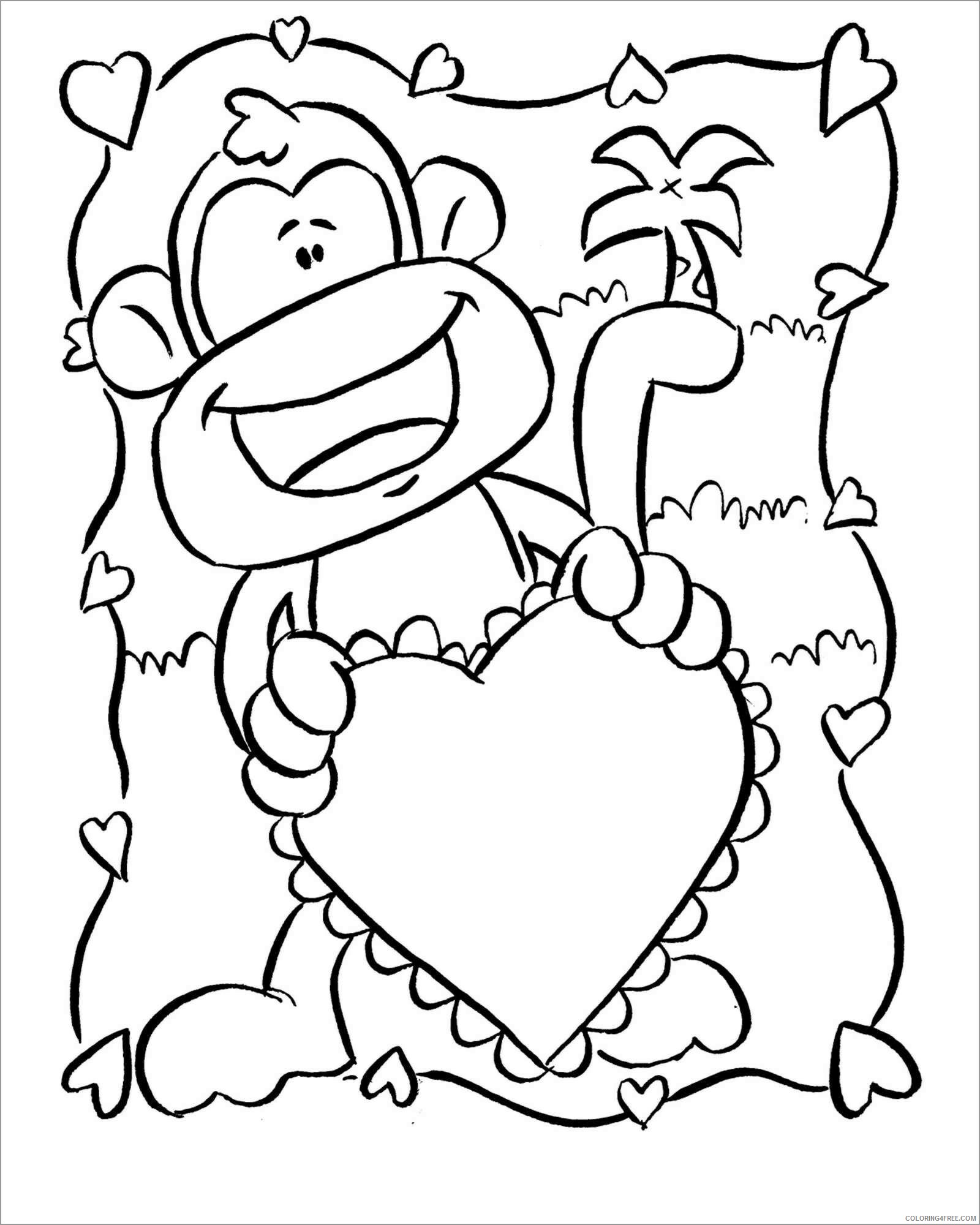 Monkey Coloring Pages Animal Printable Sheets cute baby monkeys 2021 3297 Coloring4free