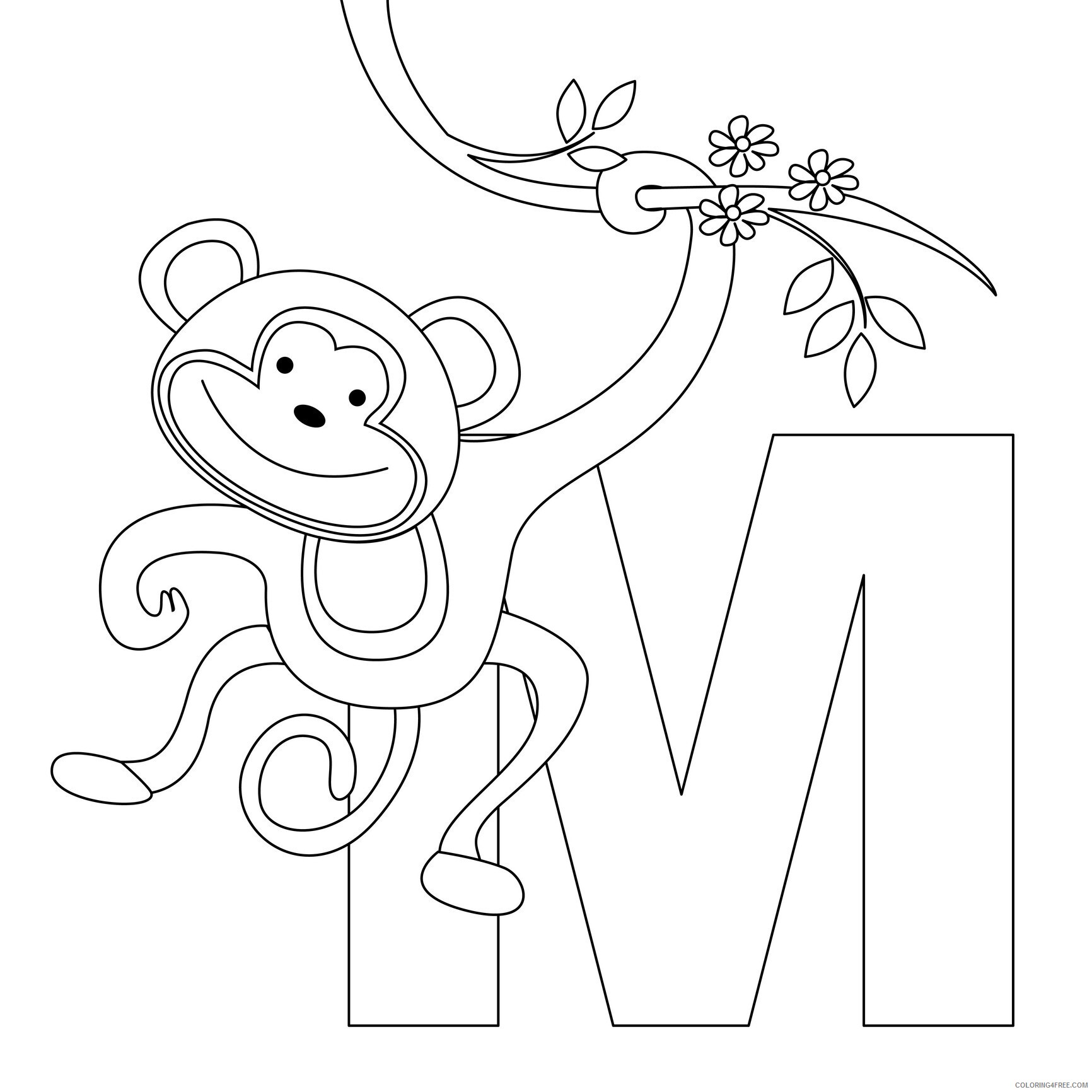 Monkey Coloring Pages Animal Printable Sheets of Cute Monkeys 2021 3290 Coloring4free