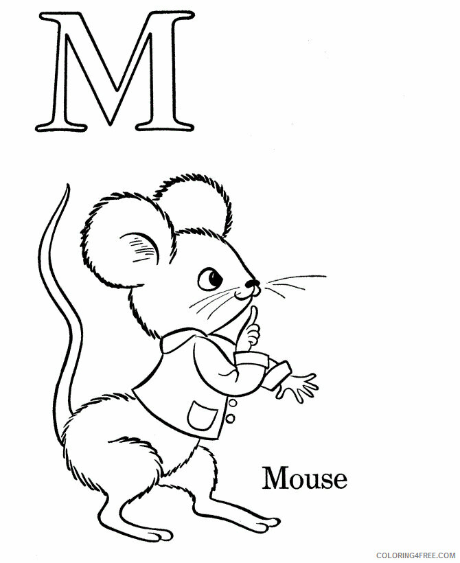Mouse Coloring Pages Animal Printable Sheets M is for Mouse 2021 3418 Coloring4free