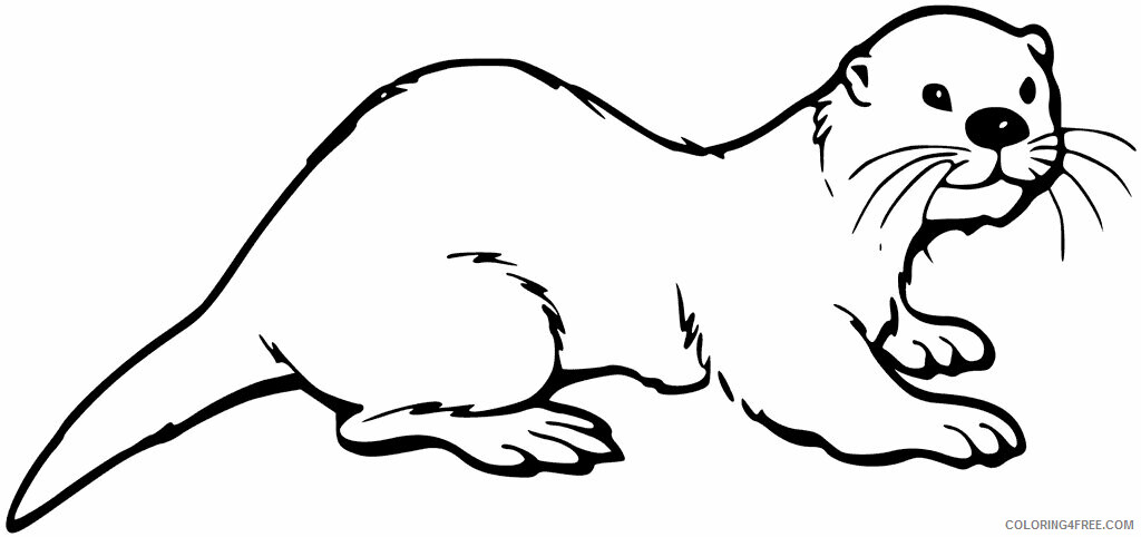 Otter Coloring Pages Animal Printable Sheets Easy Otter 2021 3580 Coloring4free