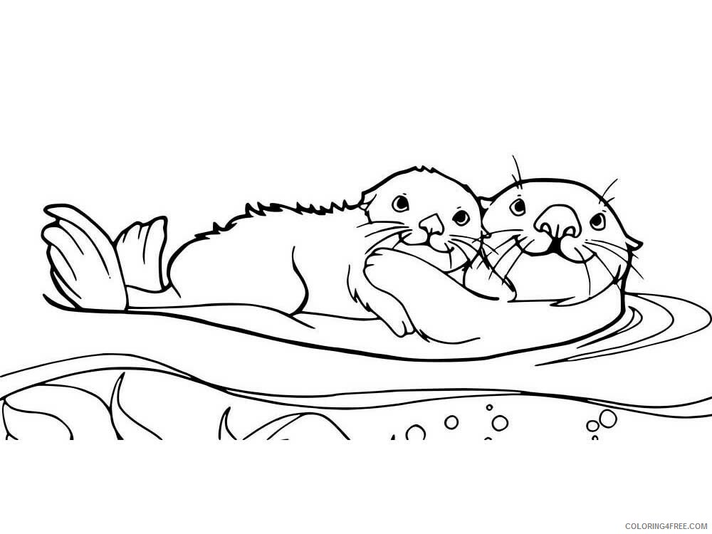 Otter Coloring Pages Animal Printable Sheets Otter 6 2021 3591 Coloring4free