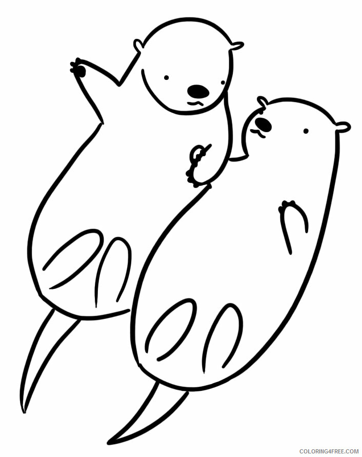 Otter Coloring Pages Animal Printable Sheets Two Otters 2021 3598 Coloring4free