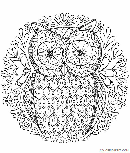 Owl Coloring Pages Animal Printable Sheets Difficult Owl 2021 3623 Coloring4free