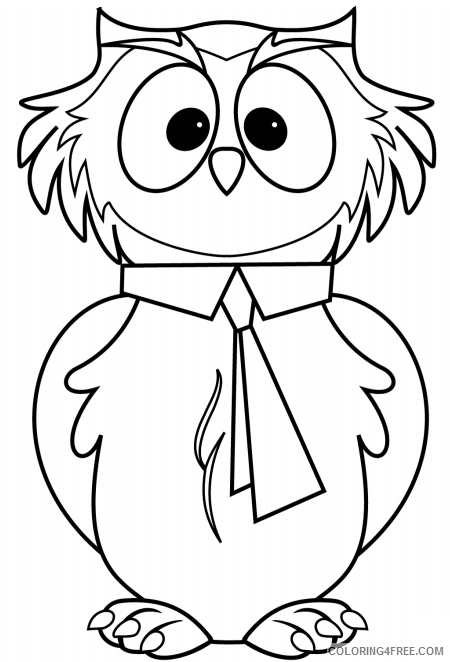 Owl Coloring Pages Animal Printable Sheets cartoon owl 2021 3605 Coloring4free