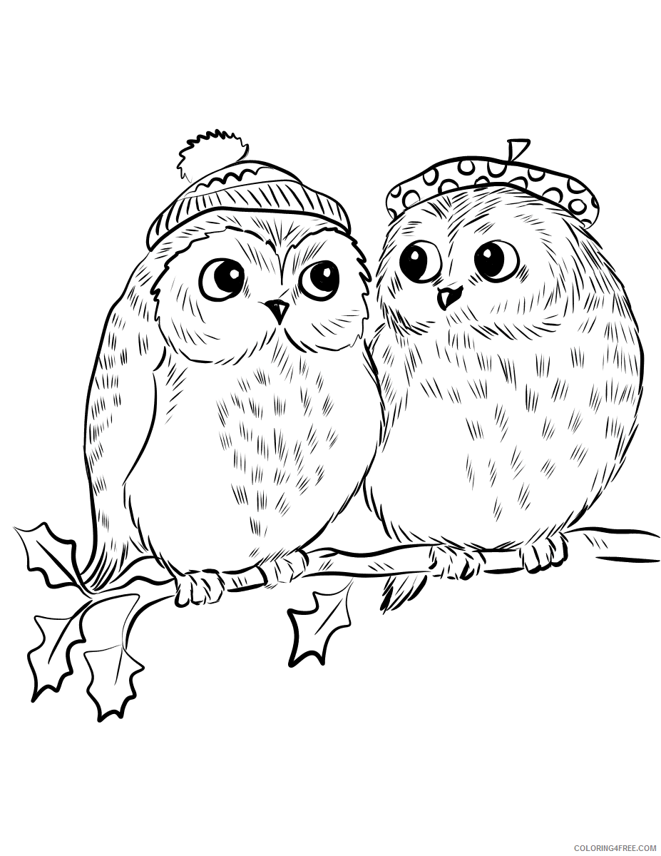 Owl Coloring Pages Animal Printable Sheets couple of cute owls 2021 3618 Coloring4free