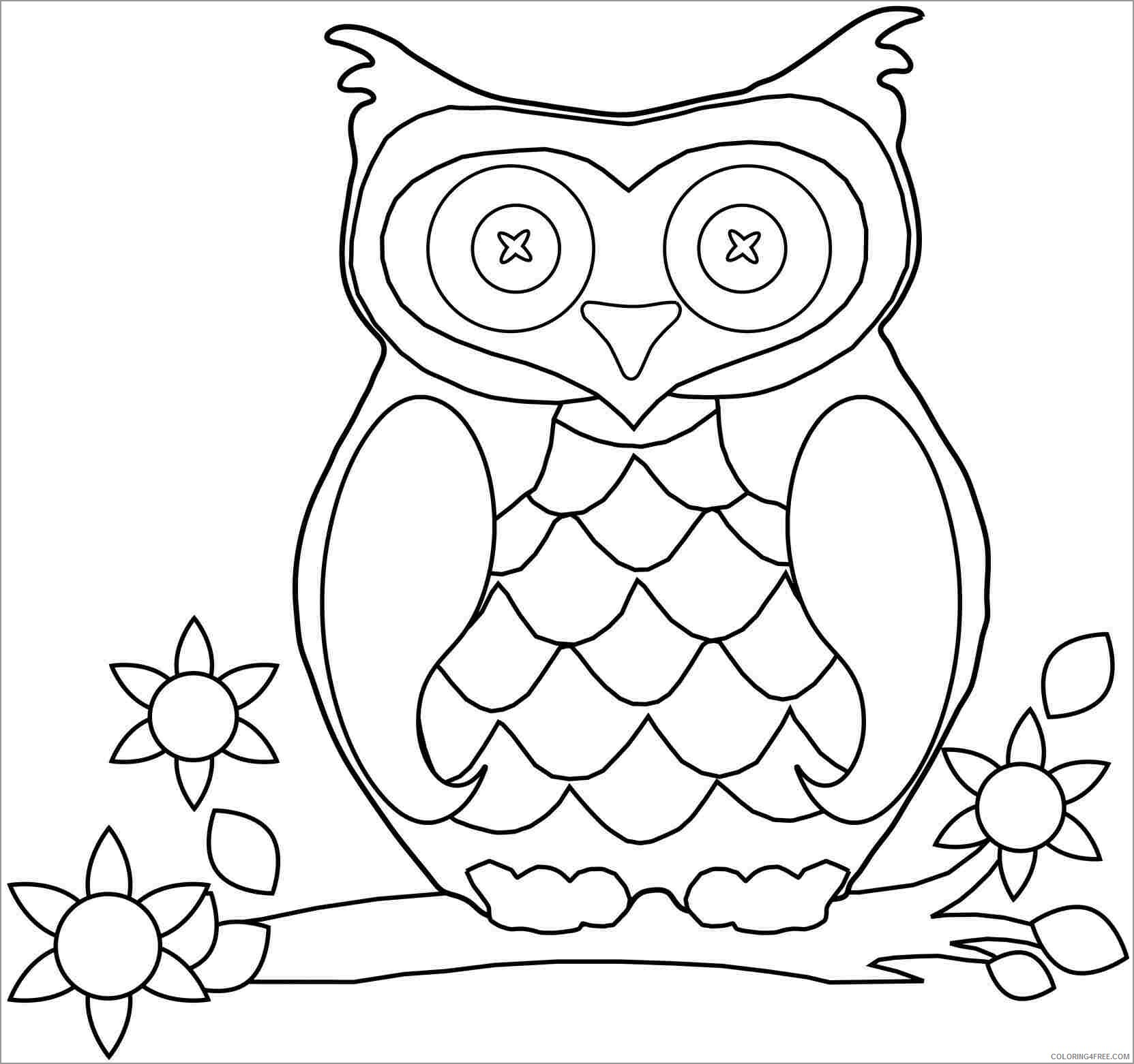 Owl Coloring Pages Animal Printable Sheets easy cute owl 2021 3626 Coloring4free