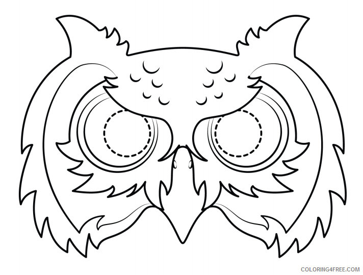 Owl Coloring Pages Animal Printable Sheets owl mask 2021 3656 Coloring4free