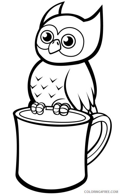 Owl Coloring Pages Animal Printable Sheets owl on mug 2021 3659 Coloring4free