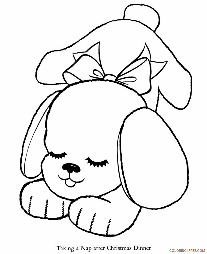 AZ Coloring Pages Christmas Printable Sheets Cute puppy taking a nap 2021 a 4435 Coloring4free