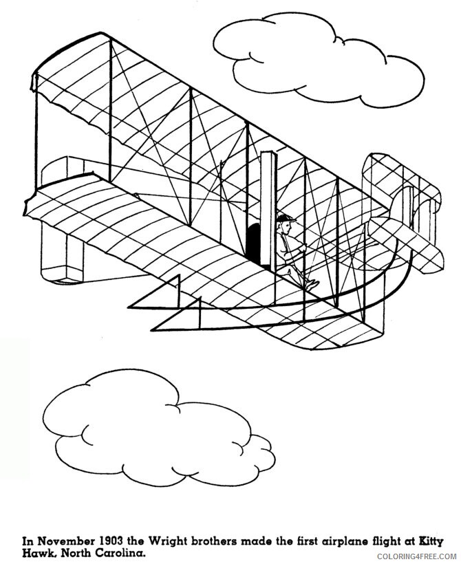 Airplane Coloring Pages For Kids Printable Sheets First Flight at Kitty Hawk 2021 a 3051 Coloring4free