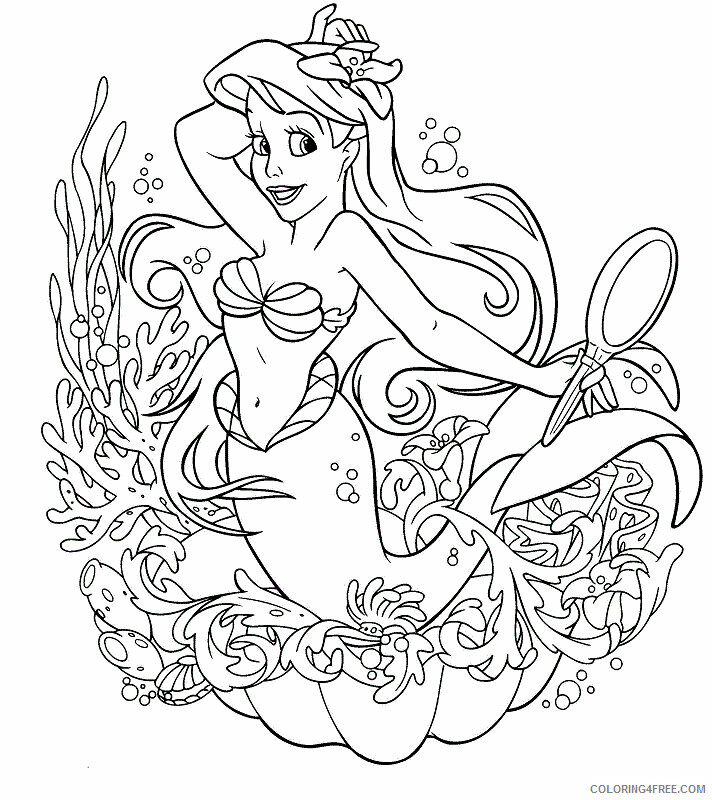 Ariel Coloring Pages Free Printable Sheets Princess Ariel Coloring 2021 A 2557 Coloring4free Coloring4free Com