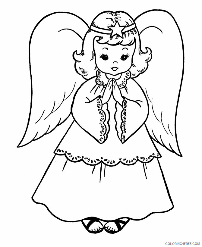 Az Coloring Pages Angel Printable Sheets Angel of Christmas 2021 a 4398 Coloring4free