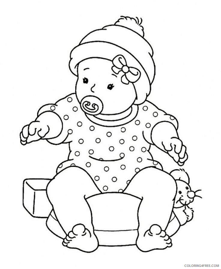 Az Coloring Pages of Dolls for Kids Printable Sheets Baby Girl Sitting with Pacifier 2021 a Coloring4free