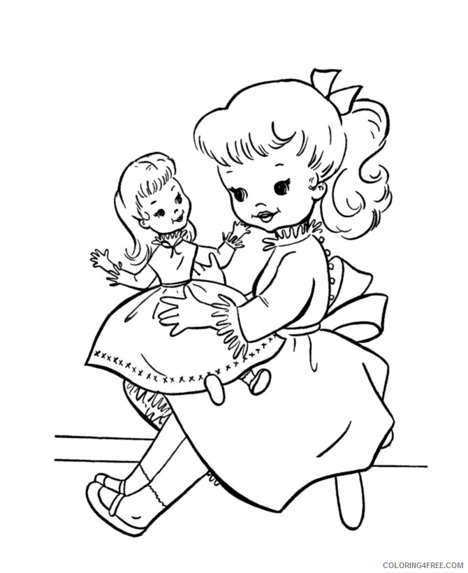 Az Coloring Pages of Dolls for Kids Printable Sheets girl and her doll Coloring 2021 a 4476 Coloring4free