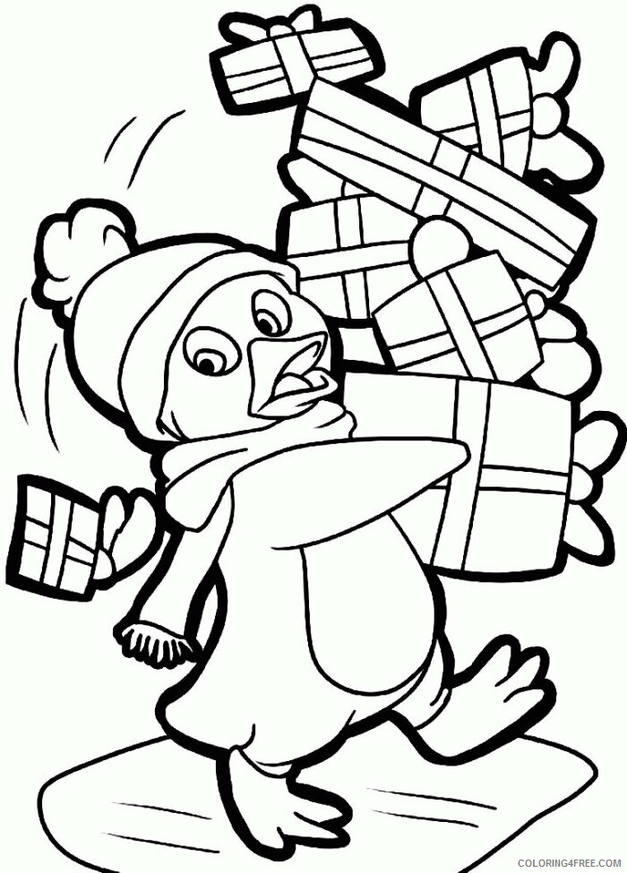 Az Colouring Christmas Coloring Pages Printable Penguin With Christmas Gifts 2021 a Coloring4free