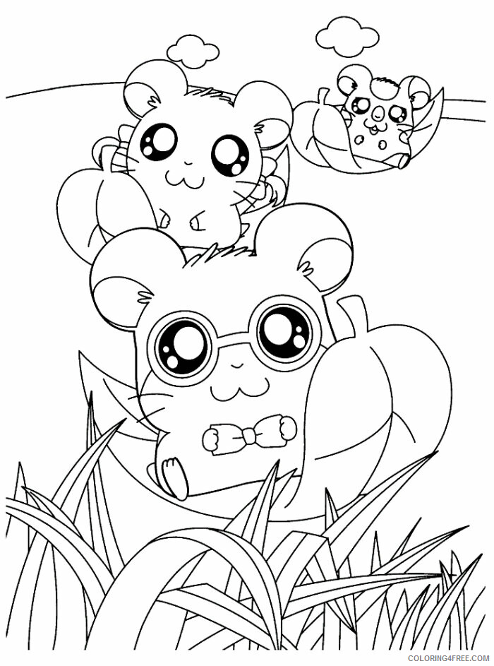 Az Hamtaro Coloring Pages Printable Sheets Hamsters Having Corn Hamtaro 2021 a 4538 Coloring4free