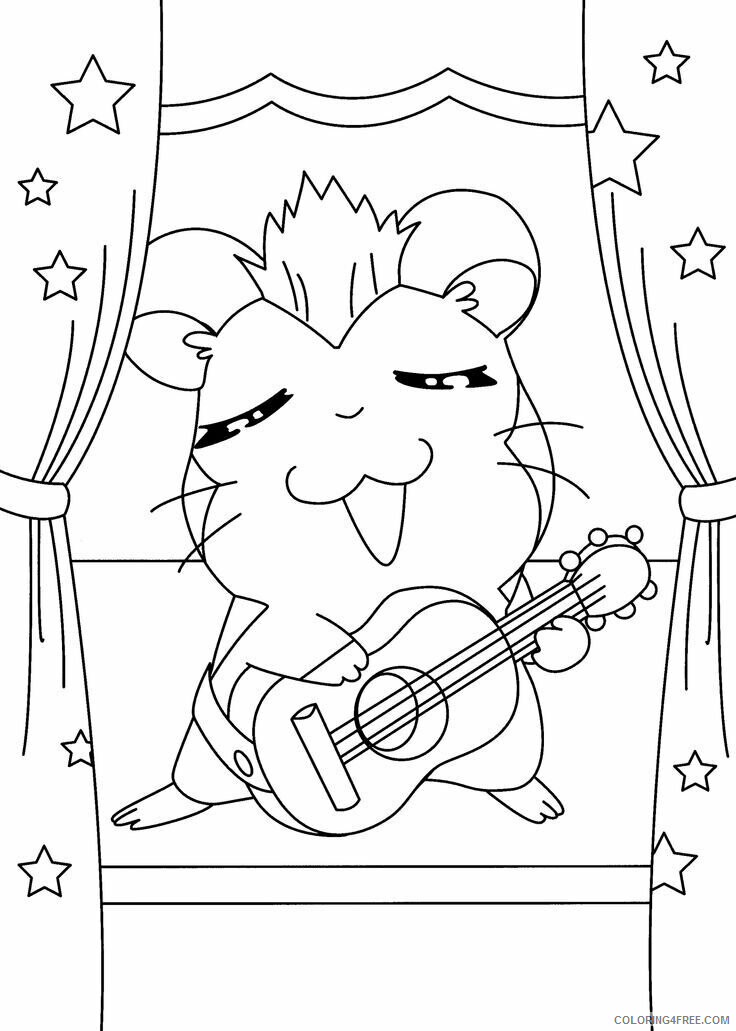 Az Hamtaro Coloring Pages Printable Sheets Hamtaro musician for 2021 a 4551 Coloring4free