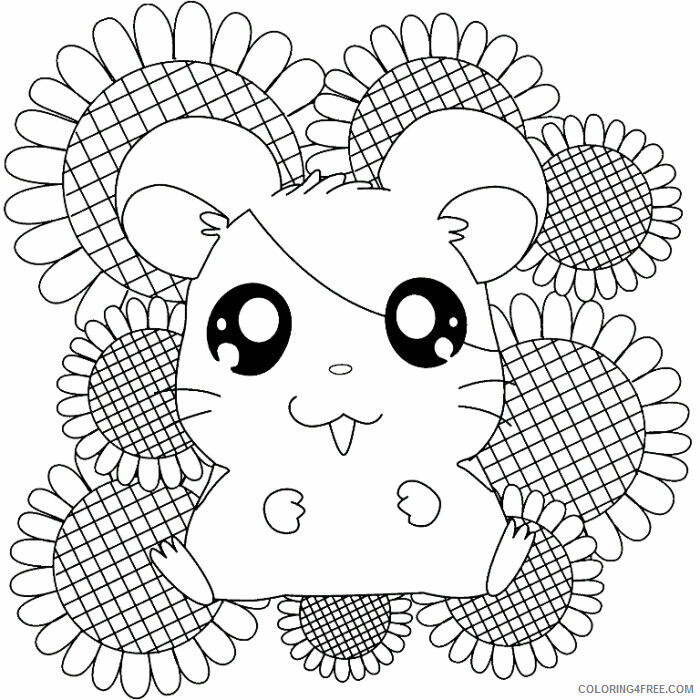 Az Hamtaro Coloring Pages Printable Sheets Happy Hamsters With Sun Flower 2021 a 4552 Coloring4free